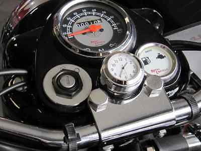 British Made Grooved Royal Enfield® Billet Stem Nut Cover with White Clock