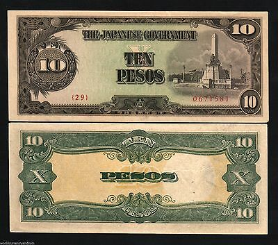 WW2 Japan Occupied Philippines1943 10 Peso Bank Note-2nd Issue- UNC Cond.15-53