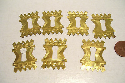 7 Key Hole Escutcheons Covers Eastlake - Reproduction Hardware Stamped Brass