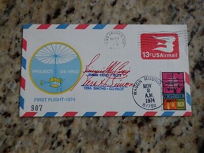 Nov 1 1974 Project Da Vinci 1st Flight Las Cruces to Wagon Mound NM - SIGNED