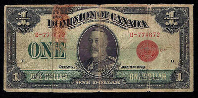 DOMINION OF CANADA $1 DOLLAR 1923 RED D  DC-25g  Grp D-1