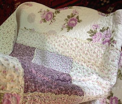Shabby Chic French Country Throw Quilt Rug Blanket Mauve White Green Patchwork