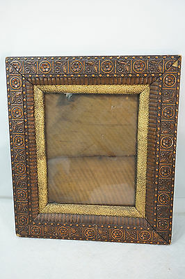 ANTIQUE PICTURE FRAME WOOD GESSO AESTHETIC VICTORIAN GOLD ORNATE 15x13 EASTLAKE