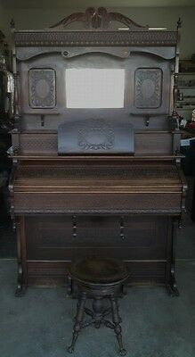 Antique Victorian Pump Organ Farrand Co 1800's with Stool