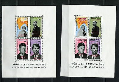 Cameroun 1969 #MB 7&8  space Ghandi Kennedy King OVERPRINTED sheets  MNH  F939