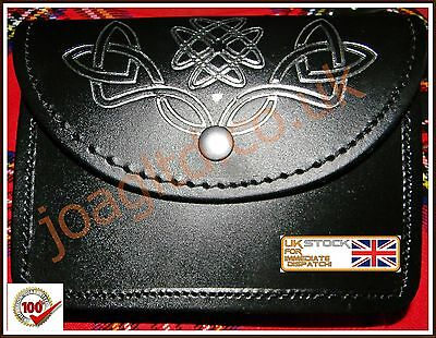 Black Kilt Belt Pouch With Celtic Embossed Silver100% real Leather sporran/pouch
