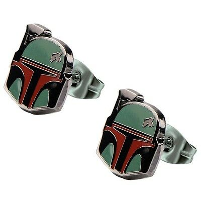 Official Stainless Steel Star Wars Boba Fett Helmet Enamel Stud Earrings - Mens