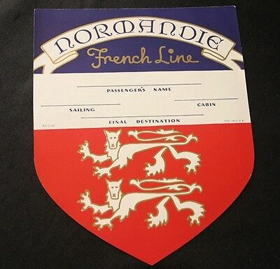 FRENCH LINE SS NORMANDIE Shield Luggage Tag