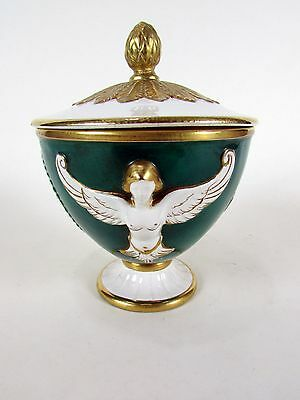 Vintage Roman Green Angel Cherub Green and Gilded Urn Vase Dish w/ Finial Lid
