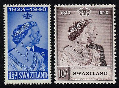 Swaziland 1948 Royal Silver Wedding set, MNH (SG#46/47)