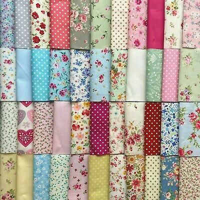 50 or 100 PATCHWORK QUILTING FABRIC SQUARES INC CATH KIDSTON 100% COTTON 10 CM