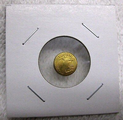 Good Luck Wedding Token ~ St Gaudens Mini Double Eagle Reeded Gold Tone Coin