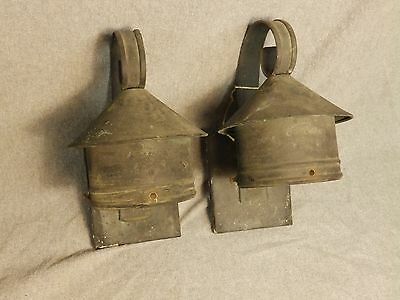Antique Copper Arts Crafts Mission Craftsman Matching Sconce Pair Wall Lights