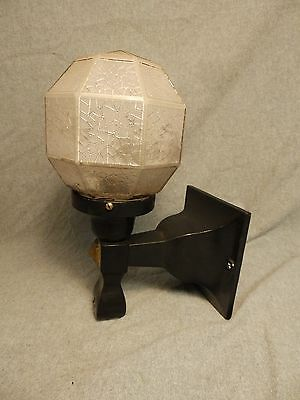 Antique Cast Iron Porch Sconce Octagon Crackle Glass Globe Old Vtg Wall Light