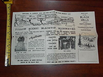 Black Hills Road Map Points Of Interest Rare Old Vintage Brochure
