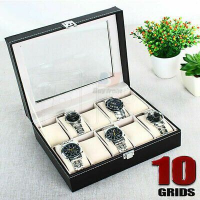 Leather Watch Jewelry Display Storage Holder Case 10 Grids Box Organizer Gift AU