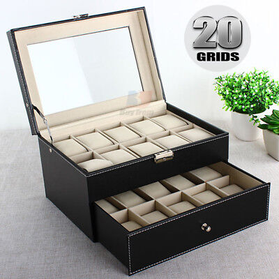 Leather Watch Jewelry Display 20 Grids Storage Holder Organizer Showcase Box OZ