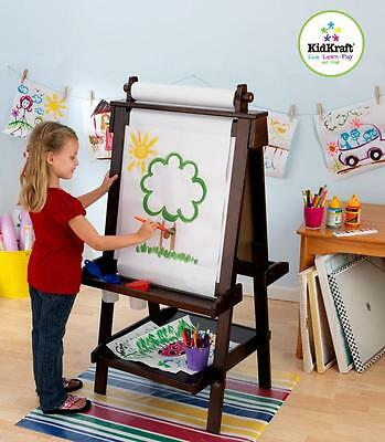 Childrens KidKraft Deluxe Wood Easel / Art Painting Chalk Board - Espresso NEW