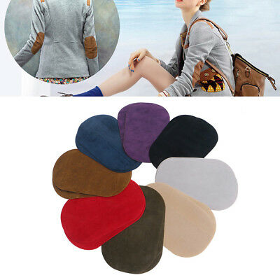 2PCS Suede Leather Iron-on Oval MG Elbow Knee CA Patches Repair Sewing Applique