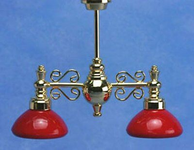 Dollhouse Electric Miniature House Billiard Chandelier W/Red Shade 12V # MH54138