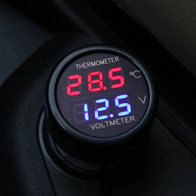 2 In 1 Car Auto 12V Red Blue Dual Display LED Digital Thermometer Voltmeter New