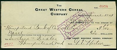 1909 The Great Western Cereal Company(Quaker Oats) Check