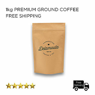 Roasted Fresh Ground Coffee Beans 1kg for Paper Filter Brewing - FREE DELIVERY
