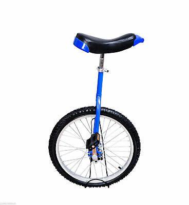 """20"""" Wheel Unicycle Cycling Exercise 1.75"""" Tire Adjustable Height Chrome Blue"""