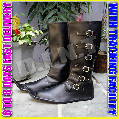 Christmas Gifts For Men Medieval Vintage Styled Long Pure Leather Shoe Mens Boot
