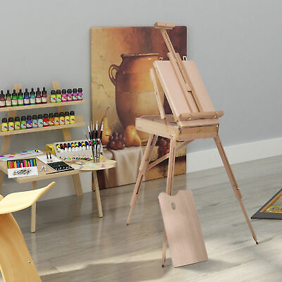 HOMCOM French Easel Beech Wooden Sketch Box Portable Tripod Art Painter w/Pallet