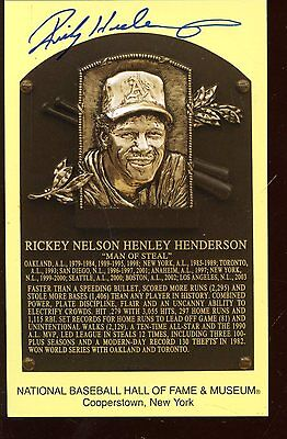 Rickey Henderson Yellow Hall of Fame Plaque Autographed Hologram