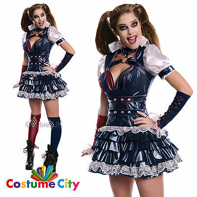 Womens Ladies Official Batman Arkham Knight Harley Quinn Fancy Dress Costume
