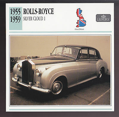 1955-1959 Rolls-Royce Silver Cloud 1 Car Photo Spec Sheet CARD 1956 1957 1958