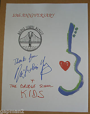 Bridge School Benefit 10th Anniversary Concert Poster Neil Young Pegi Young