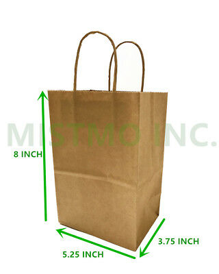 NEW Brown Small Kraft Paper Bags Shopping handles Party Gift Bags-5.25x3.75x8""