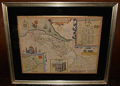 Antique Hand Colored Map of FLINTSHIRE, by John Speed, Circa 1611