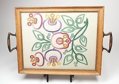 Vtg Art Nouveau Wood & Glass Tray Embroidery Flowers Insert Copper Handles 13""