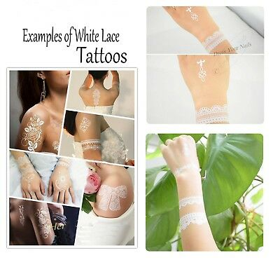 Tattoo - White + Black Lace Temporary Fashion Wedding Bride Party Indian Henna