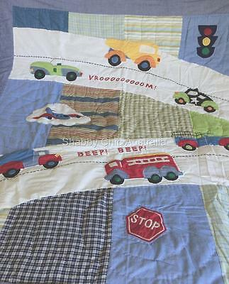 Vehicle Car Fire Truck Plane Cotton Patchwork Boys Blue Cot Crib Quilt Blanket