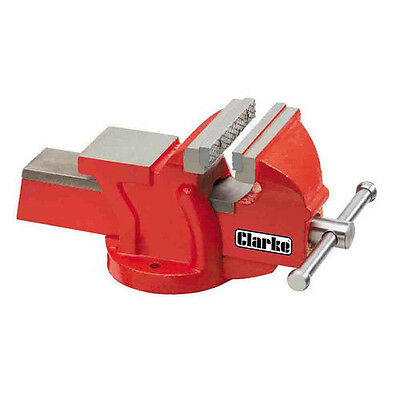"CLARKE CV4RB Metalwork Fixed Bench Vice4"" 100mm Red Solid cast iron Weighs 6 kg"