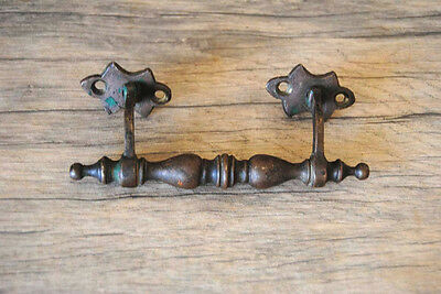 Antique Vintage brass door cabinet drawer handles paint rustic farm decor 5.75""