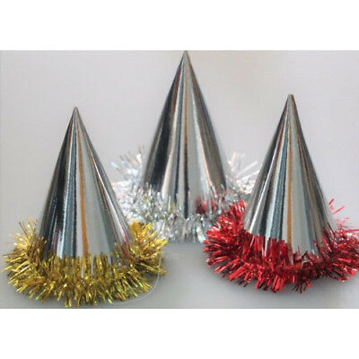Party Hats Cone Foil Tinsel Gold or Silver Christmas, Birthday Party Pack of 100