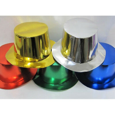 Top Hats Foil Silver Gold Black or Assorted Christmas, Fancy Dress Pack 25