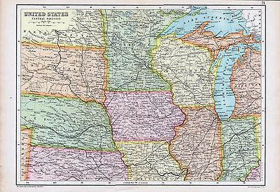 1909 Map United States Central Division. John Batholomew.