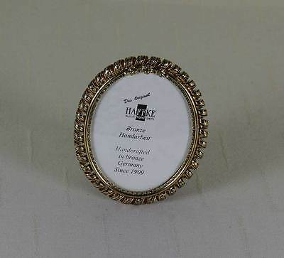 Haffke Handcrafted Oval Bronze with Spiral Decoration Photo Frame