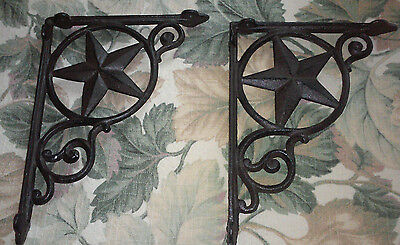 "Set/2 ~9"" Western Star Texas Rustic Cast Iron Shelf Support Wall Brackets Lodge"