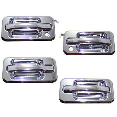 4 New Chrome Outside Door Handles Front Left + Right + Rear Left + Right