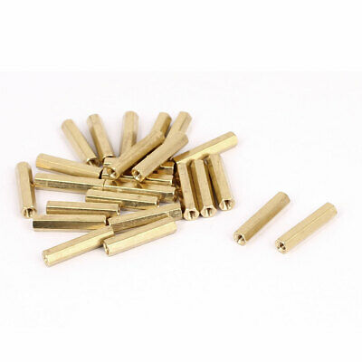 M3 x 22mm Female Thread Brass Hex Standoff Pillar Rod Spacer Coupler Nut 25pcs