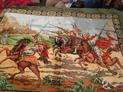 Vintage Antique Tapestry Arab on Horses Rug Wall Hanging