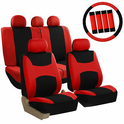 Car Seat Covers Red Set for Auto w/Steering Wheel/Belt Pad/Head Rests